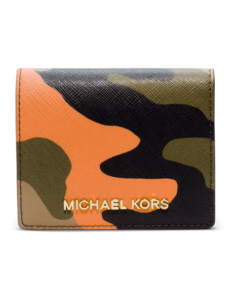 MICHAEL Michael Kors Jet Set Camo Travel Flap Card Holder - POPPY - 32F4GTVF2R
