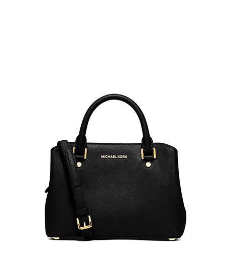Savannah Small Saffiano Leather Satchel - BLACK - 30S6GS7S1L