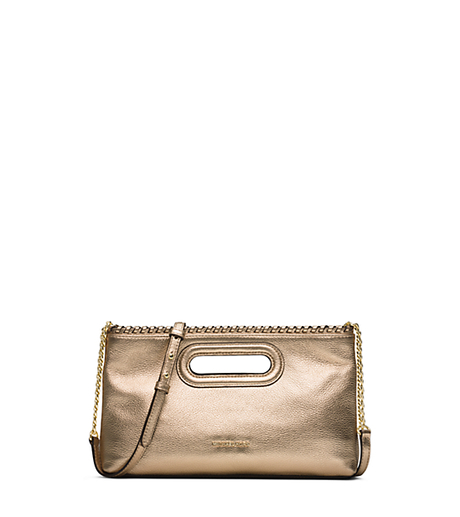 Rosalie Large Metallic-Leather Clutch - PALE GOLD - 30S6MS5C3M