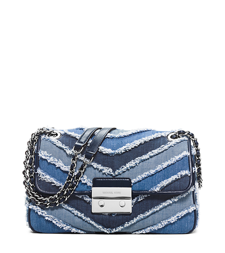 Sloan Large Denim Chevron Crossbody - MULTI BLUE - 30S6SSLL4C