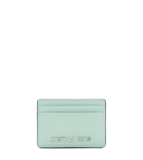 Jet Set Travel Saffiano Leather Card Case - CELADON - 32S4STVD1L