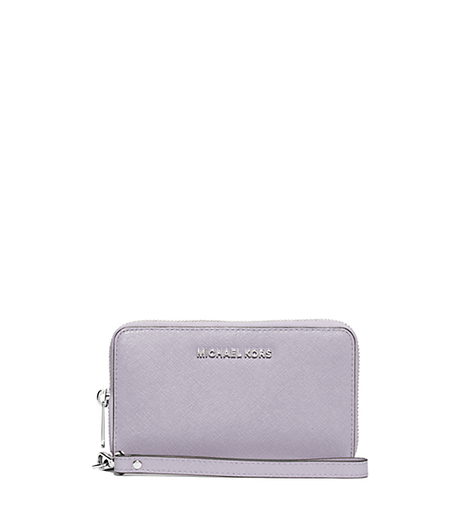 Jet Set Travel Large Saffiano Leather Continental Wristlet - LILAC - 32S6STVE9A