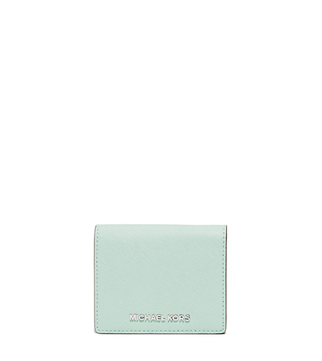 Jet Set Travel Saffiano Leather Card Holder - CELADN/AZURE - 32T5STVF2T