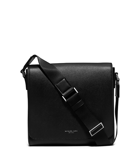 Harrison Medium Leather Messenger Bag - BLACK - 33S6LHRM2L