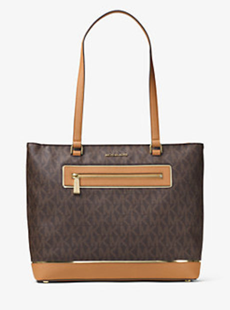 Jet Set Large Logo Tote - BROWN - 30H6GFJT3B
