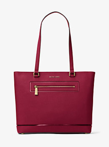 Jet Set Large Leather Tote - CHERRY - 30H6GFJT3M