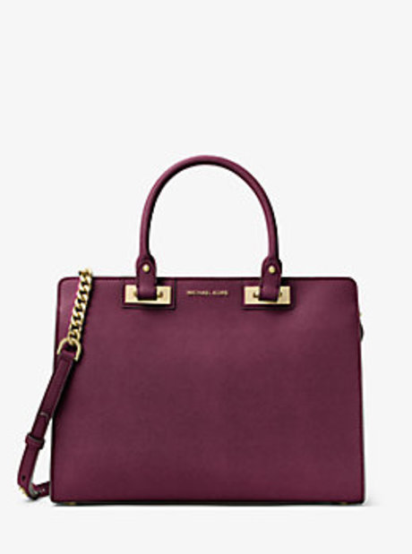 Quinn Large Saffiano Leather Satchel - PLUM - 30H6GQNS3L