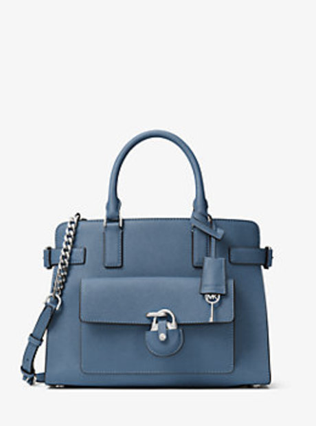 Emma Saffiano Leather Satchel - CORNFLOWER - 30H6SENS2L