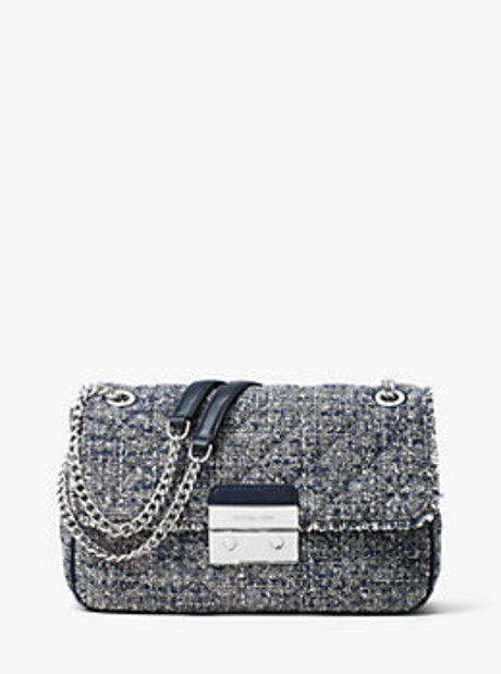 Sloan Large Tweed Shoulder Bag - ADMIRAL - 30H6SSLL3C