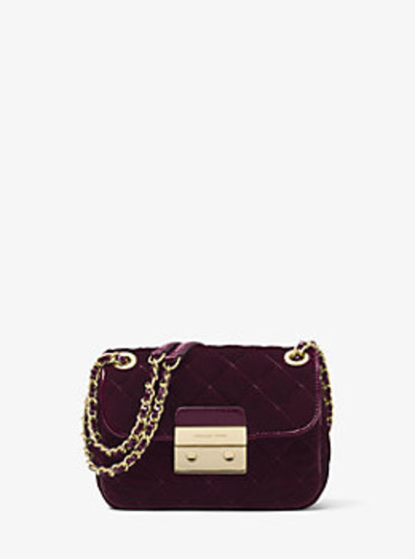 Sloan Small Quilted-Velvet Shoulder Bag - ADMIRAL - 30F6GSLL1C