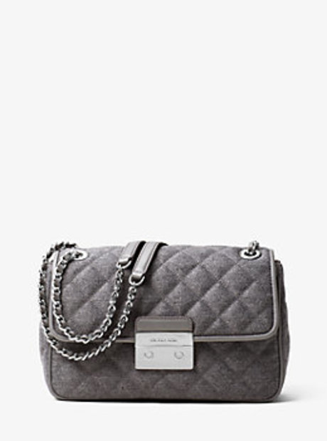 Sloan Large Quilted-Felt Shoulder Bag - GREY - 30F6SSLL3C