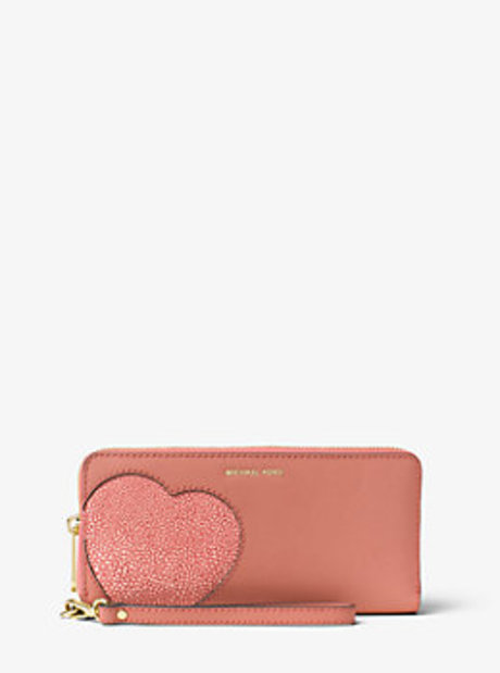 Hearts Saffiano Leather Wristlet - ANTIQUE ROSE - 32F6GH9E7E