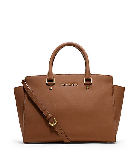 Selma Large Saffiano Leather Satchel - LUGGAGE - 30S3GLMS7L