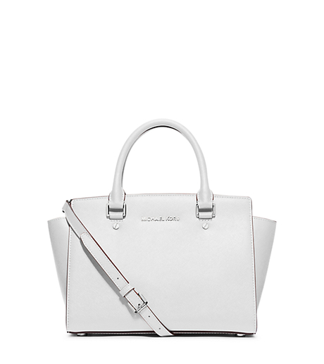 Selma Medium Saffiano Leather Satchel - OPTIC WHITE - 30T3SLMS2L
