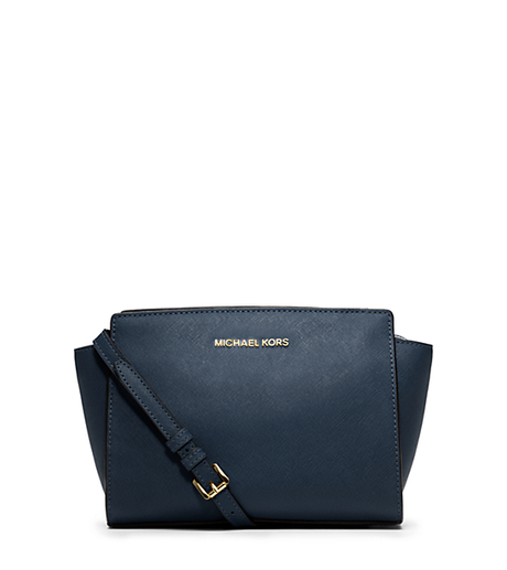 Selma Medium Saffiano Leather Messenger - NAVY - 30T3GLMM2L