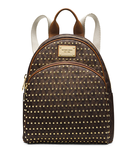 Jet Set Travel Small Studded Logo Backpack - BROWN - 30T4GTTB1B