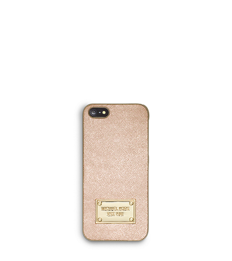 Metallic Saffiano Leather Smartphone Case - PALE GOLD - 32F4GELL1M