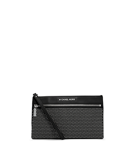 Selma Micro-Stud Leather Clutch - BLACK - 32F4SMUW3L