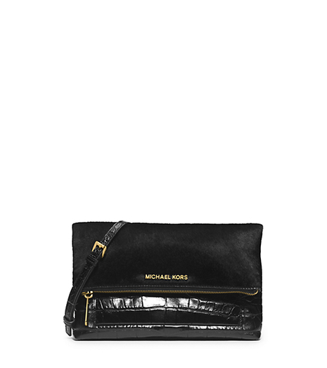 Jet Set Travel Hair Calf and Embossed-Leather Clutch -  - 30H4GTVC3H