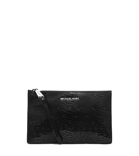 Rhea Embellished Python Pattern-Embossed Leather Clutch -  - 32H4TECW3G