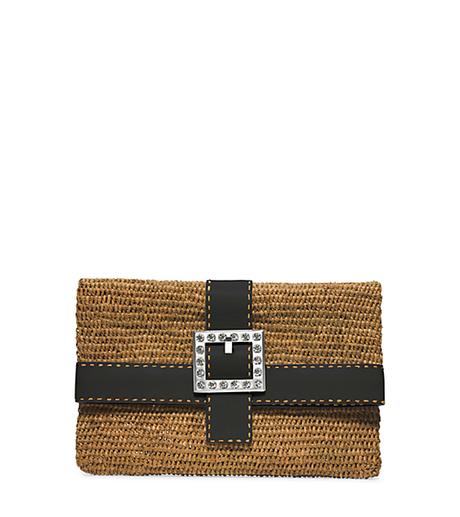Janey Large Crystal-Embellished Raffia Clutch -  - 31H4TJWC3W