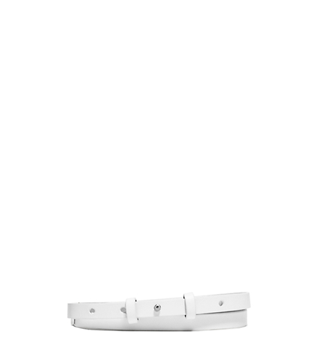 Skinny Leather Stud Belt - WHITE - 31T5PBLA3T