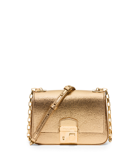 Gia Small Metallic Leather Shoulder Bag - GOLD - 31H5GGAX1M
