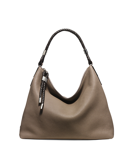 Skorpios Pebbled-Leather Shoulder Bag - DARK TAUPE - 31H5PSKL7L