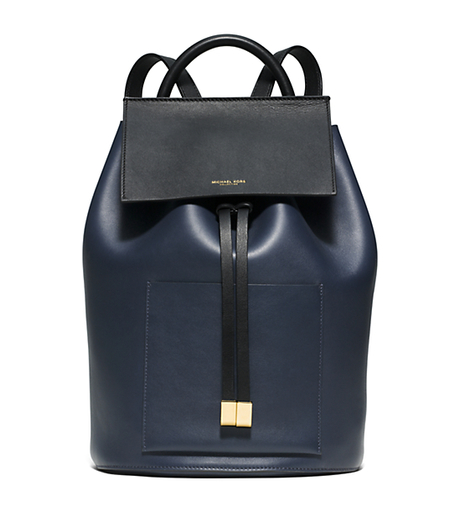 Miranda Large Color-Block French Calf Leather Backpack - INDIGO - 31S6GMDB8T
