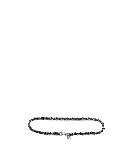 Pavé Charm and Chain-Laced Leather Belt - NICKEL - 29553379
