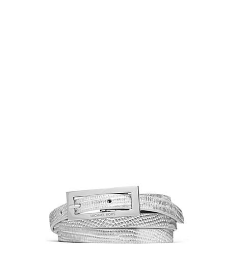 Lizard Pattern-Embossed Leather and Suede Belt - SILVER - 29553386