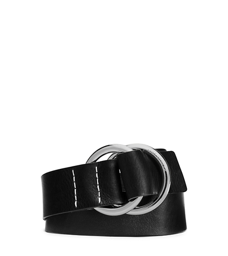 Double-Ring Leather Belt - BLACK - 551553