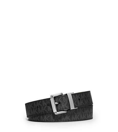 Reversible Logo and Embossed-Leather Belt - BLACK - 553501