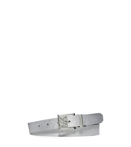 Reversible Saffiano Leather Belt - SILVER - 554508
