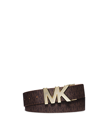 Reversible Saffiano Leather Belt - BROWN - 554517