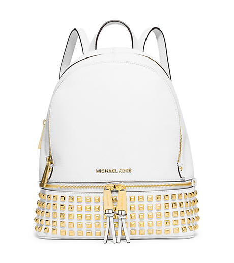 Rhea Small Studded Leather Backpack - OPTIC WHITE - 30S5GEZB5L