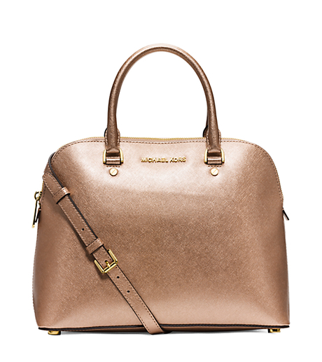 Michael Kors Cindy Laukku : Cindy large metallic saffiano leather satchel s mcps m