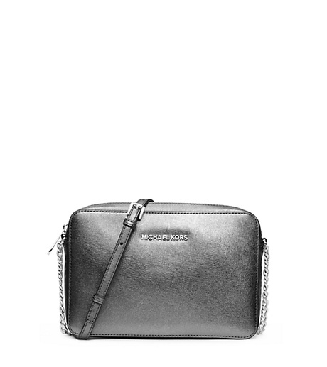 Jet Set Large Metallic Leather Crossbody - SILVER - 32F4STVC3M