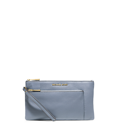 Riley Large Pebbled-Leather Zip Clutch - PALE BLUE - 32S5GRLW3L