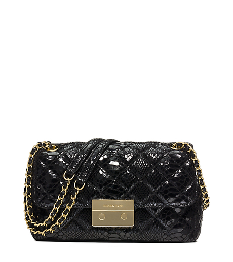 Sloan Large Embossed Patent-Leather Crossbody - BLACK - 30H5GSLL3G