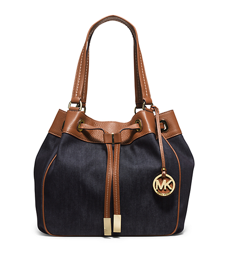 Marina Large Denim Drawstring Tote - Dark Denim - 30H5GMAT3C