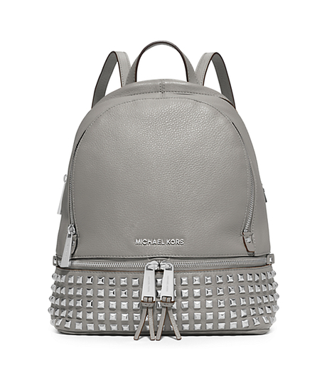 Rhea Small Studded Leather Backpack - PEARL GREY - 30S5SEZB5L