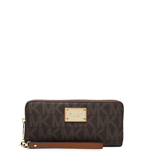 Jet Set Travel Continental Wristlet - BROWN - 32T5GTTE9B