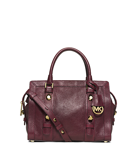 Collins Stud Medium Leather Satchel - MERLOT - 30F5GCVS2L