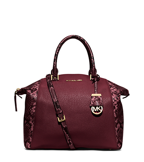Riley Large Embossed-Trim Leather Satchel - MERLOT - 30F5GRLS7E