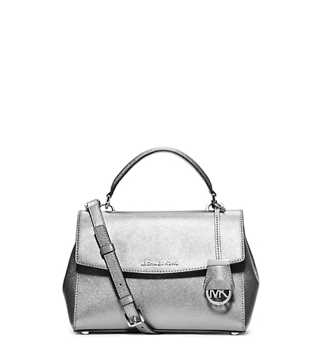 Ava Small Saffiano Leather Satchel - SILVER - 30F5MAVM2M