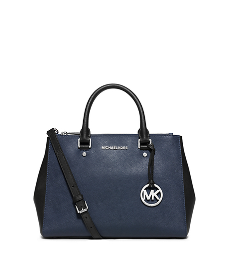 Sutton Medium Two-Tone Leather Satchel - NAVY/BLACK - 30F5SSUS6T