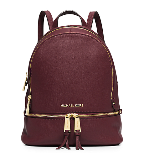 Rhea Small Leather Backpack - MERLOT - 30S5GEZB1L
