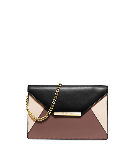 Lana Color-Block Leather Envelope Clutch - DUSTY ROSE/ECRU/BLACK - 30S5GKYC2T