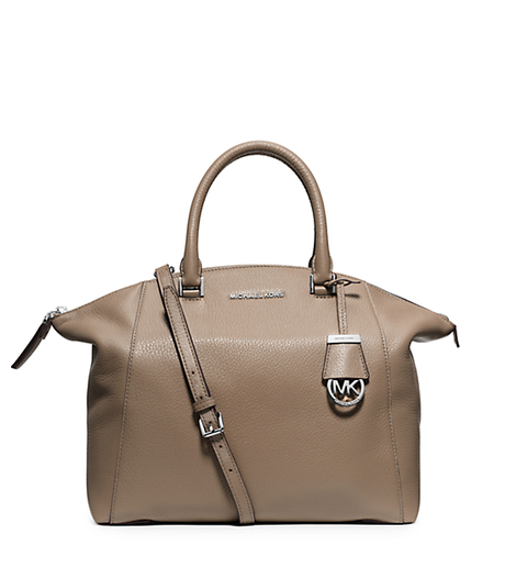 Riley Large Leather Satchel - DARK TAUPE - 30S5SRLS3L